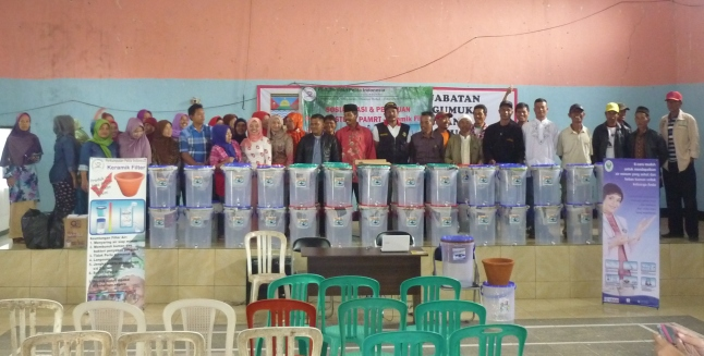 50 Ceramic Filters Giveaway at Village Tugu Mukti, District Cisarua, West Bandung with Our Sponsor CWA